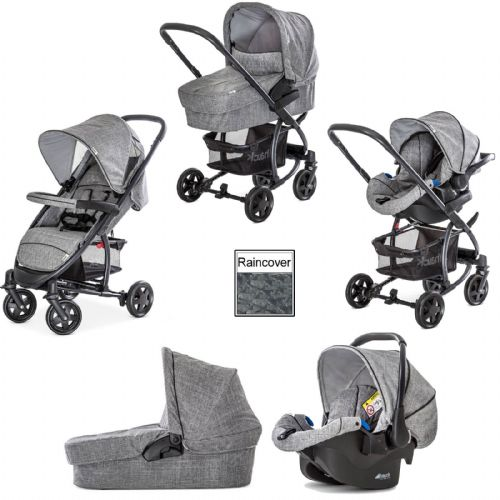 NEW Hauck Malibu 4 Trio Travel System Carseat Melange/Grey+Raincover